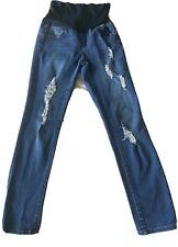 Haute Mama Distressed Skinny Maternity Jeans Womens L Cotton Blue Stretch Pants