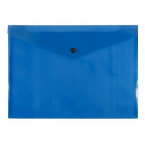 Pack of 12 Bantex Document Wallets A4 Button Closure Trans BLUE