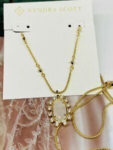 New Kendra Scott Elisa Pendant Gold Necklace In Ivory Pearl