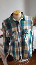 Vintage Men Alaska Wilderness Heavy Flanel Work Shirt Sz Xl, Plaid, Blues, Cott