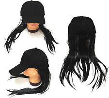 BASEBALL CAP W LONG BLACK FAKE HAIR funny costume hat wig MEN WOMEN cap novelty