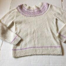 Vtg Sweater Womens Small Pullover Handmade Ivory Cream Purple Knit Icelandic