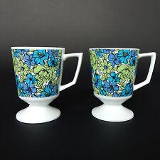 MID CENTURY Vintage 1970's Blue Green Floral Kitch Pop Mod Set of 2 Mug Cup