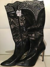 Black Italian Leather Swarovski Boots 40 7 Calf