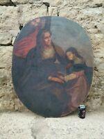 XL Altes Antikes Ölgemälde Famiglia Sacra Scuola Italiana Barock XVI 16Jh / Rar