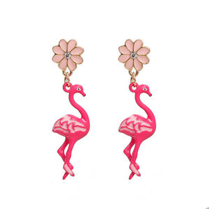 3d FLAMINGO & FLOWER GOLD PLATED EARRINGS in GIFT BAG - SAME DAY FREE POSTAGE