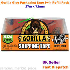 Gorilla Glue Tape Packaging Refill Twin Pack 27m x 72mm Crystal Clear Tough Wide
