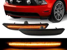 Smoke Front Amber LED Bumper Side Marker Light for 10-14 Ford Mustang Pair V6 GT