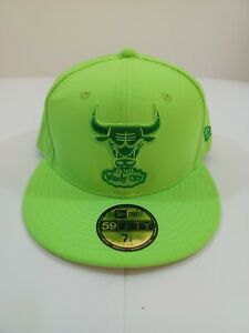 New Era 59Fifty Chicago Bulls Lime Fitted Cap Hat Hardwood Classics 7 1/4