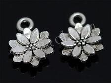 30pcs Tibetan Silver Mini lotus flower Alloy Jewelry Charms Pendant 14x10mm M
