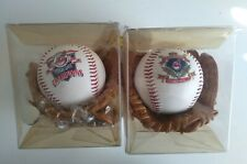 PAIR OF(2) VINTAGE FOTOBALL MINI BASEBALL GLOVES AND BALL 1995 CLEVELAND INDIANS