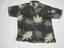 TOMMY BAHAMA Hawaiian Weed Pot Hemp SILK MARIJUANA Geometric Black Shirt Mens L