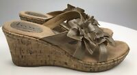 BOC Born Jamaica Cork Wedge Floral Slide Sandals Women's 8 39 Rose Gold BC0689