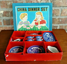 "Children's Vintage Blue Willow Tea Set ""China Dinner Set"" Willow Ware Made Japan"