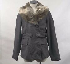 Obey Women's Wool Peacoat Kremlin Heather Grey Size S NWT Faux Fur
