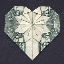 MONEY ORIGAMI HEART - Folding Instructions Included - Dollar Bill - Diagram Cash