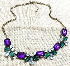New Fashion Charm Colorful Rhinestone Flower Choker Bib Statement Necklace