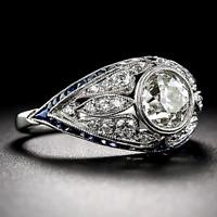 Antique Art Deco 4 Ct Diamond/Sapphire 10k White Gold Finish Engagement Ring