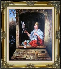 Framed Hand Painted Oil Painting Repro Jan Portielje Lady and Pigeons, 20x24in