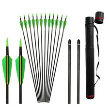 12pcs Spine 400 Archery Carbon Arrow Shield Feather Points Hunting Back Quiver