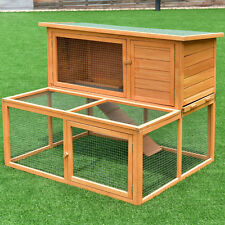 "44"" Wooden Rabbit Hutch Chicken Coop Bunny Small Animals Cage House 2 Doors Run"