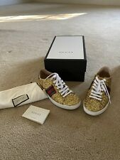 100% Gucci Women's Ace Gold  Glitter Sneakers size 38