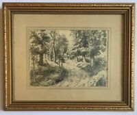 Antique Pen And Ink Of Path In Woods Mounted And Frames Signed H E Dobson 1939