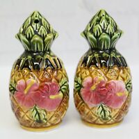"Vintage Large Hawaii Souvenir Pineapple Pink Hibiscus Salt Pepper Shaker Set 4"""