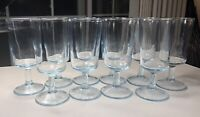 Set Of 10 Vintage MCM Light Blue Tint Tea Water Glasses Starburst Bottom Exc!