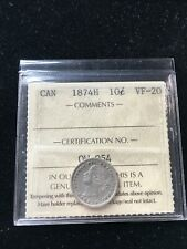 1874H   ICCS  Graded Canadian,  ¢10  Cent, **VF-20**