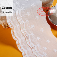 """Embroidery Floral Cotton Lace Trim Ribbon Wedding Fabric Sewing 5.9"""" wide FL294"""