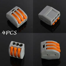 4pcs 3Way - Reusable Spring Lever Terminal Block Electric Cable Connector Wire