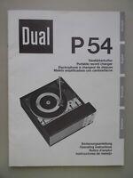 Prospekt Dual P54 Verstärkerkoffer Bedienungsanleitung viersprachig