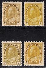 Canada 7c Admiral, Scott 113b, 113, 113a, 113iii, F to F-VF MH, catalogue - $370