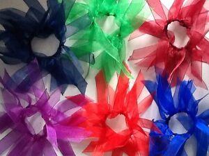x1 Plain Organza School Ribbon Hair Scrunchie Bobble/Band
