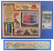 Set 8 timbri timbrini dinosauri matite colorate scatola in legno Melissa e Doug