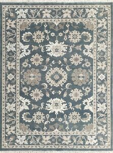 Hand Knotted Wool Rug Traditional Design Slate Blue RH Area Rug 9x12 -7131