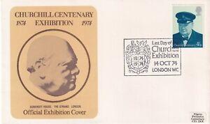 14 OCT 1974 WINSTON CHURCHILL CENTENARY EXHIBITION COVER SOMERSET HOUSE LONDON