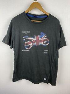Triumph Motorcycle Mens T Shirt Size L Crew Neck Graphics Print Grey Adult