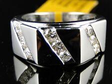 10K NEW MENS WHITE GOLD ROUND CUT DIAMOND RING WEDDING BAND 1.00 CT 10 MM