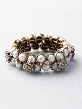 NWT Ann Taylor Loft Pearlized Bead and Floral Gemstone Stretch Bracelet #1v