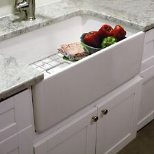 Highpoint Collection 30-inch Single Bowl Fireclay Farmhouse Kitchen Sink With