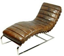 "58"" W Comfortable chaise chair cigar vintage brown leather spectacular quality"