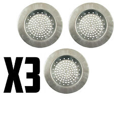 3x STAINLESS STEEL SINK STRAINER PLUG DRAIN STOPPER FILTER BASKET KITCHEN WASTE