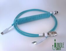 Custom Coiled Aviator USB-C Teal Cable for Ducky and Anne Pro Keyboards