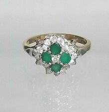 Vintage Green Agate & Zirconia Cluster Ring 9ct yellow gold Hallmarked Real Gold