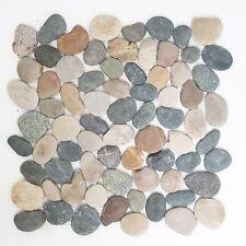 Fliesen Mosaik Mosaikfliese Naturstein Kiesel flach bunt Boden 8-10 mm Neu #270