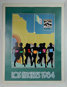"1984 Los Angeles CA ""Running"" Print Poster Jay Collins, Kaplan Co. Pop Art"