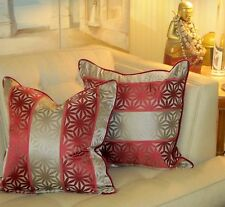 """SCHUMACHER Pillow Cover 20x20"""" Gray/Putty and Burgundy Velvet! One of a Kind."""