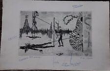 Jean-Marie ALBAGNAC - Gravure etching épreuve de travail surréalisme surrealism